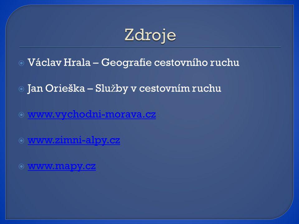  Václav Hrala – Geografie cestovního ruchu  Jan Orieška – Slu ž by v cestovním ruchu  www.vychodni-morava.cz www.vychodni-morava.cz  www.zimni-alpy.cz www.zimni-alpy.cz  www.mapy.cz www.mapy.cz