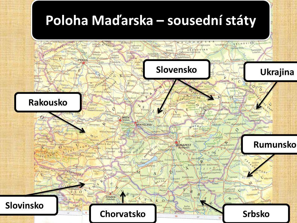 Přírodní podmínky: povrch Převažují nížiny – Velká a Malá uherská nížina vysočiny málo, jen do 1 000 m Převažují nížiny – Velká a Malá uherská nížina vysočiny málo, jen do 1 000 m vodstvo Dunaj, Tisa, Blatenské jezero (Balaton) Dunaj, Tisa, Blatenské jezero (Balaton) Mírné středoevropské až Kontinentální, méně srážek Mírné středoevropské až Kontinentální, méně srážek podnebí vegetace Lesy listnaté – málo Převládají suché stepi (pusta) Lesy listnaté – málo Převládají suché stepi (pusta)