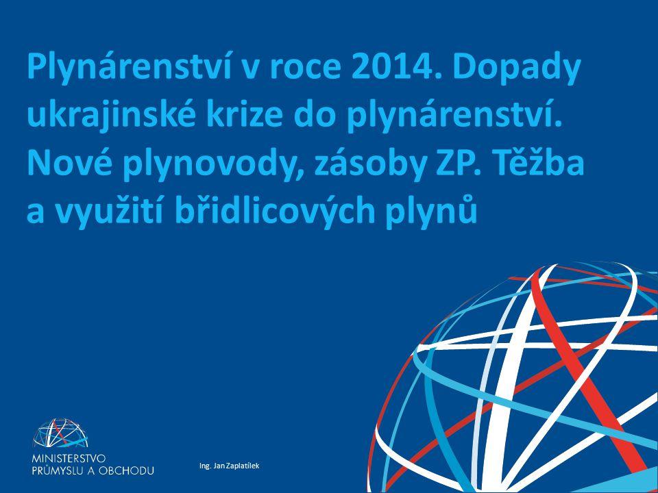 Ing. Jan Zaplatílek Plynárenství v roce 2014. Dopady ukrajinské krize do plynárenství. Nové plynovody, zásoby ZP. Těžba a využití břidlicových plynů