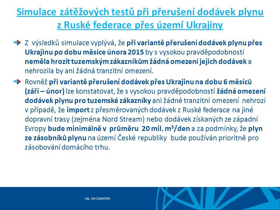 Ing. Jan Zaplatílek Simulace zátěžových testů při přerušení dodávek plynu z Ruské federace přes území Ukrajiny Z výsledků simulace vyplývá, že při var