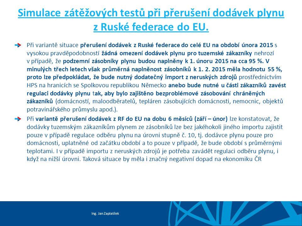 Ing. Jan Zaplatílek Simulace zátěžových testů při přerušení dodávek plynu z Ruské federace do EU. Při variantě situace přerušení dodávek z Ruské feder