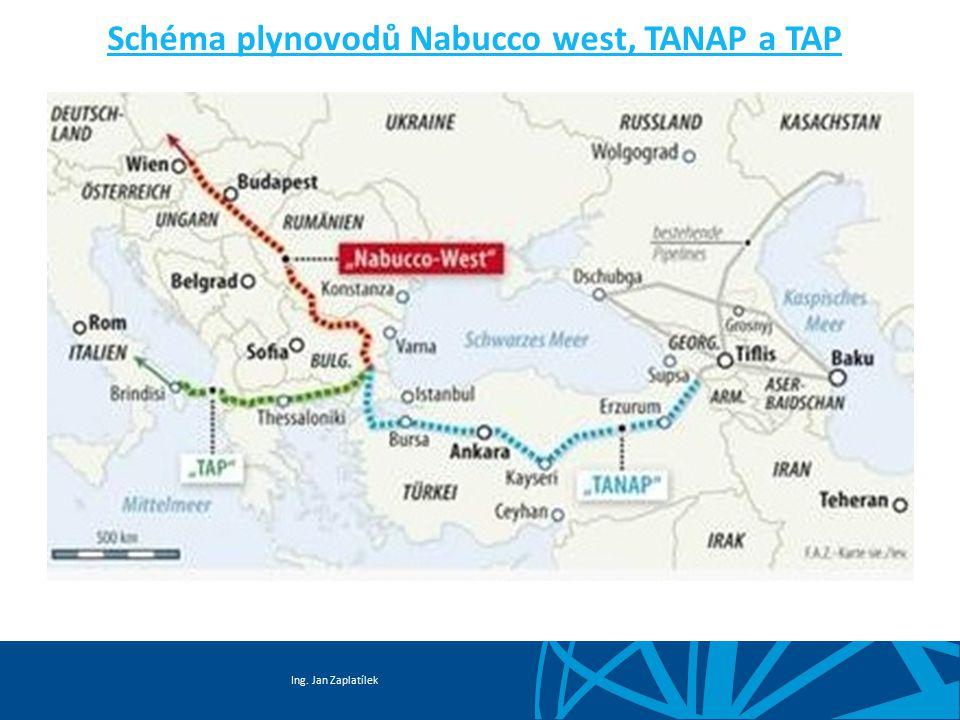 Ing. Jan Zaplatílek Schéma plynovodů Nabucco west, TANAP a TAP