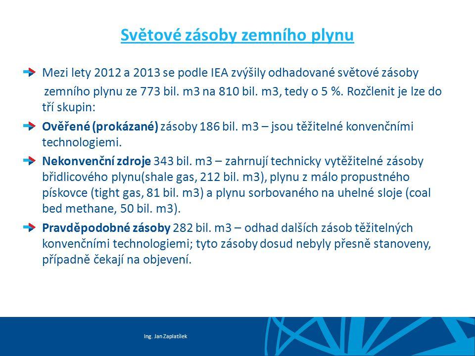 Ing. Jan Zaplatílek Světové zásoby zemního plynu Mezi lety 2012 a 2013 se podle IEA zvýšily odhadované světové zásoby zemního plynu ze 773 bil. m3 na