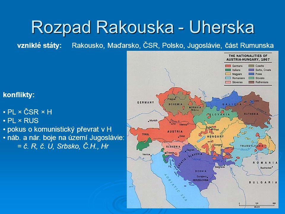 Rozpad Rakouska - Uherska vzniklé státy:Rakousko, Maďarsko, ČSR, Polsko, Jugoslávie, část Rumunska konflikty: PL × ČSR × H PL × RUS pokus o komunistický převrat v H náb.