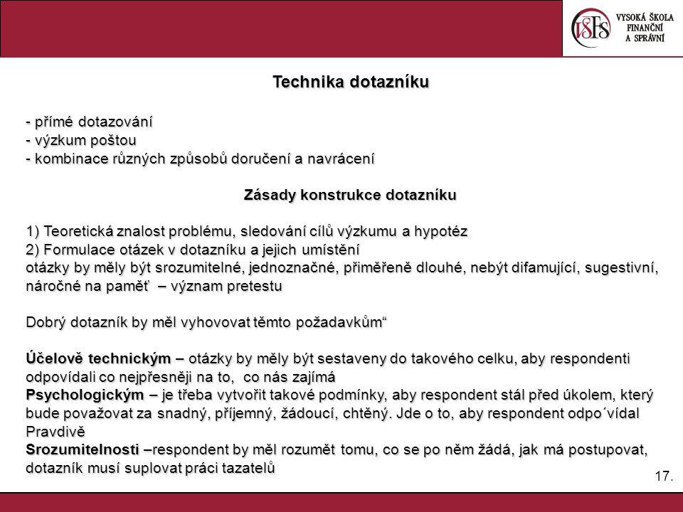 17. Technika dotazníku - přímé dotazování - výzkum poštou - kombinace různých způsobů doručení a navrácení Zásady konstrukce dotazníku 1) Teoretická z