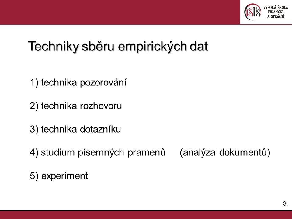 3.3. Techniky sběru empirických dat Techniky sběru empirických dat 1) technika pozorování 2) technika rozhovoru 3) technika dotazníku 4) studium písem
