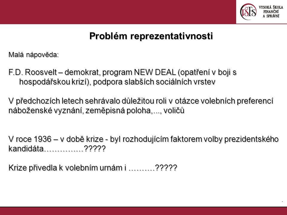 35. Problém reprezentativnosti Problém reprezentativnosti Malá nápověda: F.D. Roosvelt – demokrat, program NEW DEAL (opatření v boji s hospodářskou kr