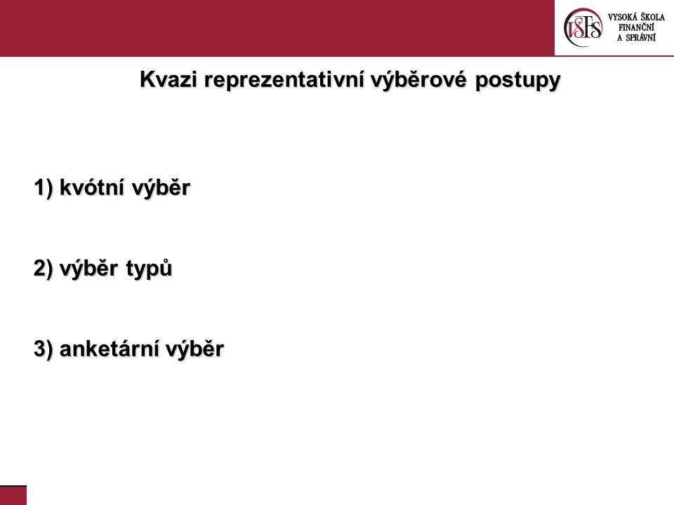 38. Kvazi reprezentativní výběrové postupy 1) kvótní výběr 2) výběr typů 3) anketární výběr