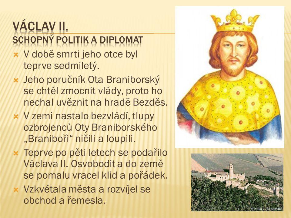""" Zavedl nové peníze """"pražské groše , kterými se dlouhá léta platilo v celé Evropě."""