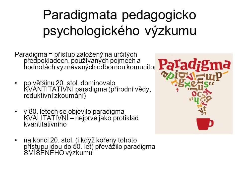 Paradigmata pedagogicko psychologického výzkumu Paradigma = přístup založený na určitých předpokladech, používaných pojmech a hodnotách vyznávaných od