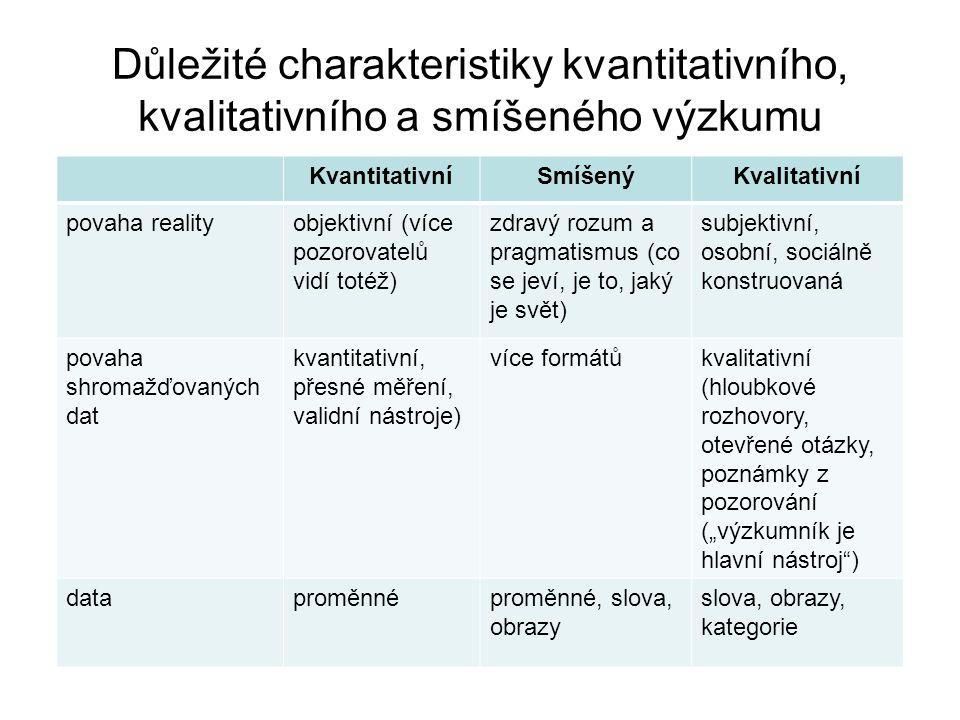 Důležité charakteristiky kvantitativního, kvalitativního a smíšeného výzkumu KvantitativníSmíšenýKvalitativní povaha realityobjektivní (více pozorovat