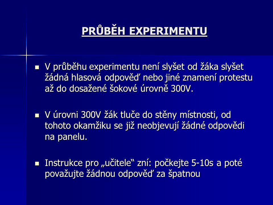 PRŮBĚH EXPERIMENTU V průběhu experimentu není slyšet od žáka slyšet žádná hlasová odpověď nebo jiné znamení protestu až do dosažené šokové úrovně 300V