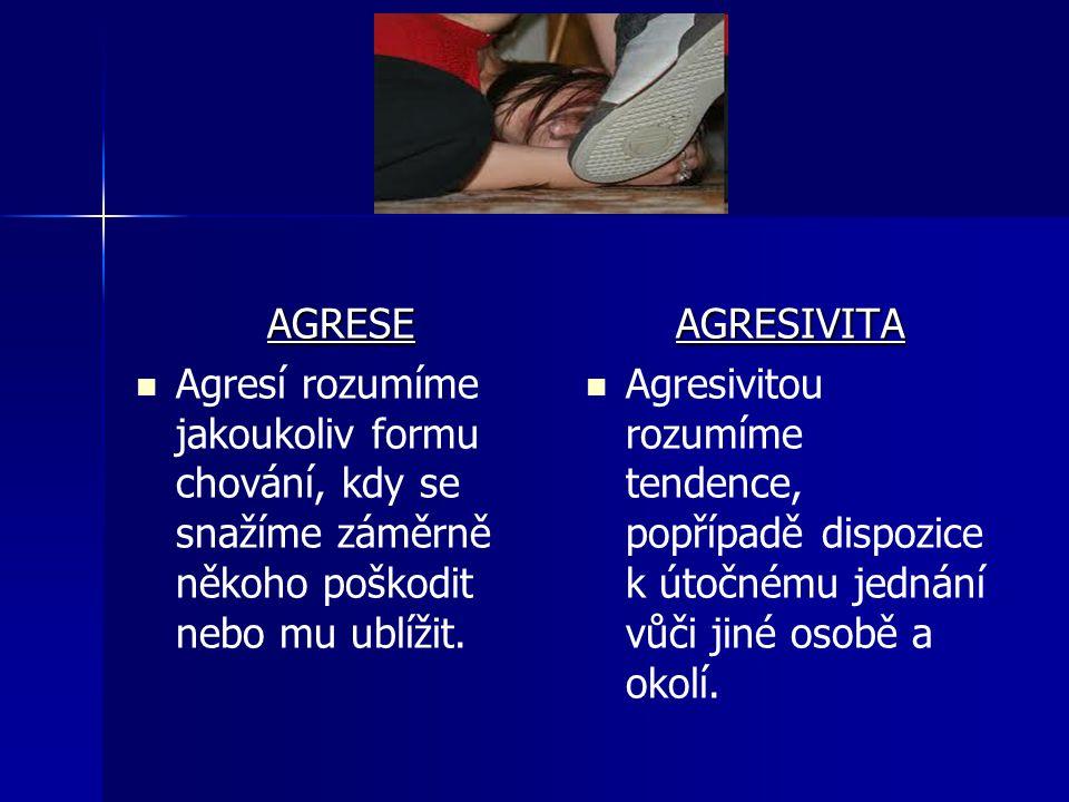 AGRESE Agresí rozumíme jakoukoliv formu chování, kdy se snažíme záměrně někoho poškodit nebo mu ublížit.AGRESIVITA Agresivitou rozumíme tendence, popř