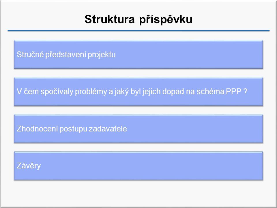 Struktura příspěvku Zhodnocení postupu zadavatele Závěry Stručné představení projektu V čem spočívaly problémy a jaký byl jejich dopad na schéma PPP