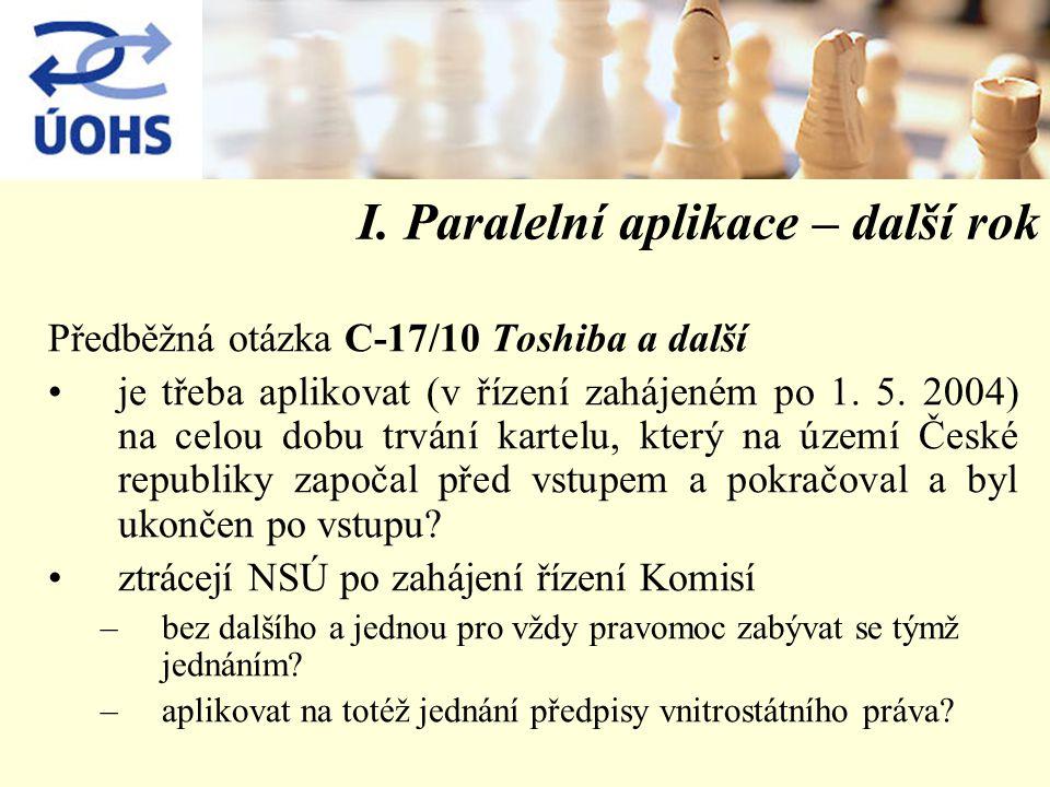 I. Paralelní aplikace – další rok Předběžná otázka C-17/10 Toshiba a další je třeba aplikovat (v řízení zahájeném po 1. 5. 2004) na celou dobu trvání