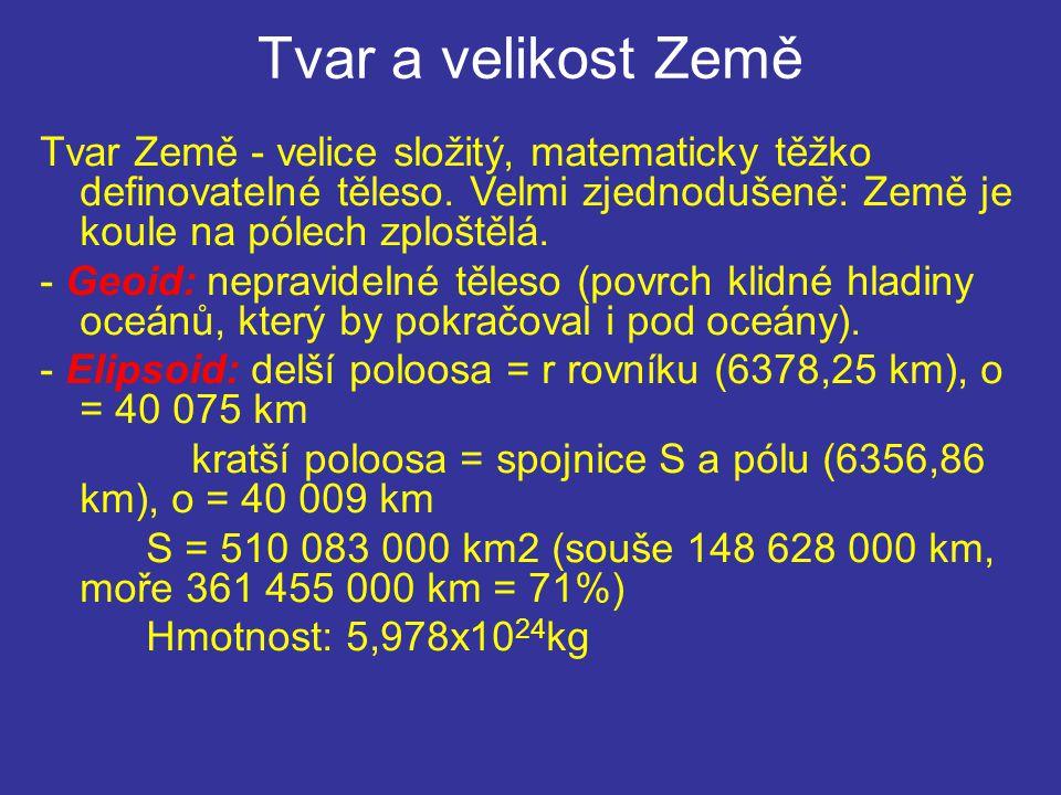 Tvar a velikost Země Tvar Země - velice složitý, matematicky těžko definovatelné těleso. Velmi zjednodušeně: Země je koule na pólech zploštělá. - Geoi