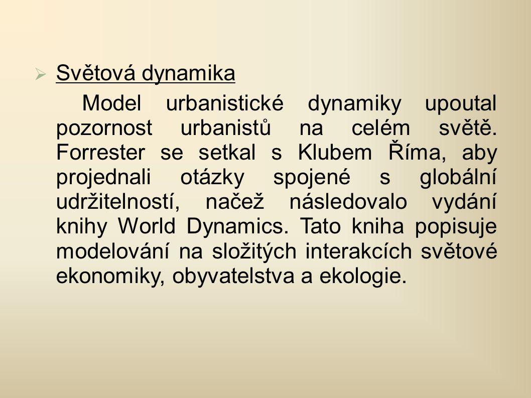  Světová dynamika Model urbanistické dynamiky upoutal pozornost urbanistů na celém světě.