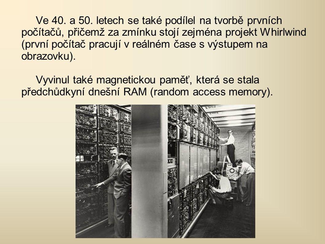 V rámci projektu Whirlwind, Forrester vynalezl a patentoval přístup k magnetické paměti počítače.