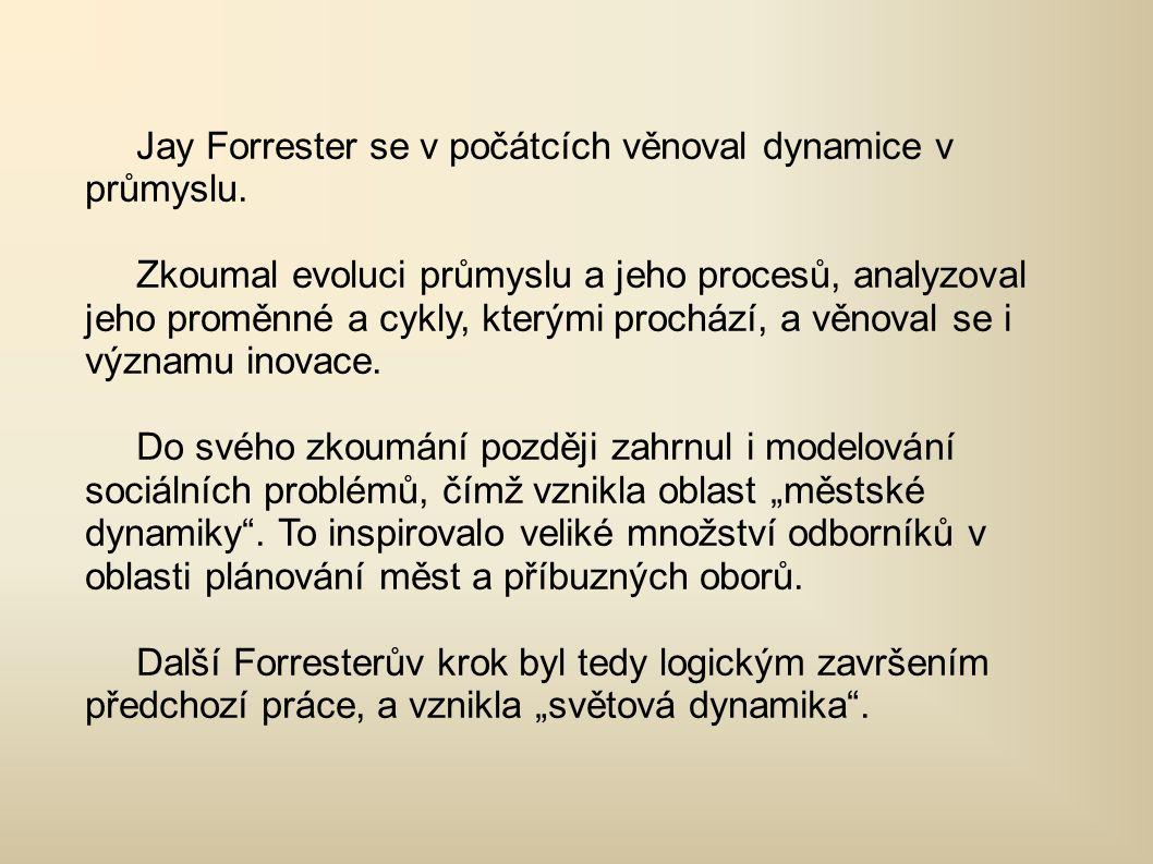 Jay Forrester se v počátcích věnoval dynamice v průmyslu.