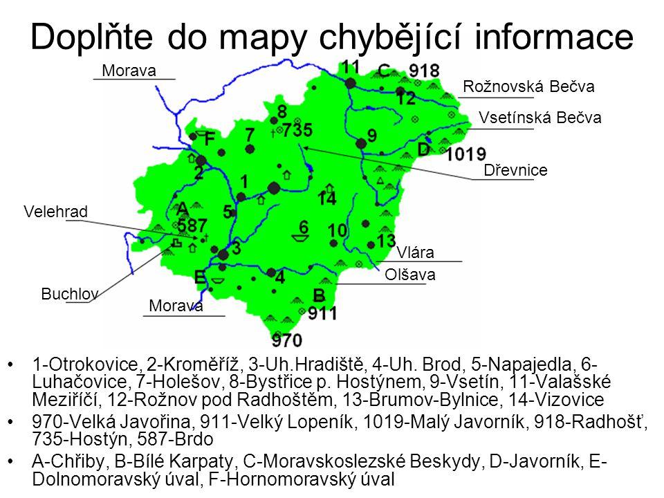 Doplňte do mapy chybějící informace 1-Otrokovice, 2-Kroměříž, 3-Uh.Hradiště, 4-Uh. Brod, 5-Napajedla, 6- Luhačovice, 7-Holešov, 8-Bystřice p. Hostýnem