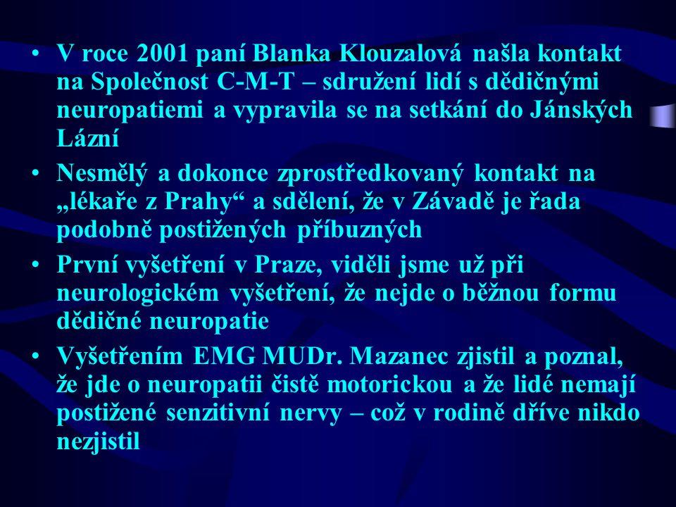 V roce 2001 paní Blanka Klouzalová našla kontakt na Společnost C-M-T – sdružení lidí s dědičnými neuropatiemi a vypravila se na setkání do Jánských Lá