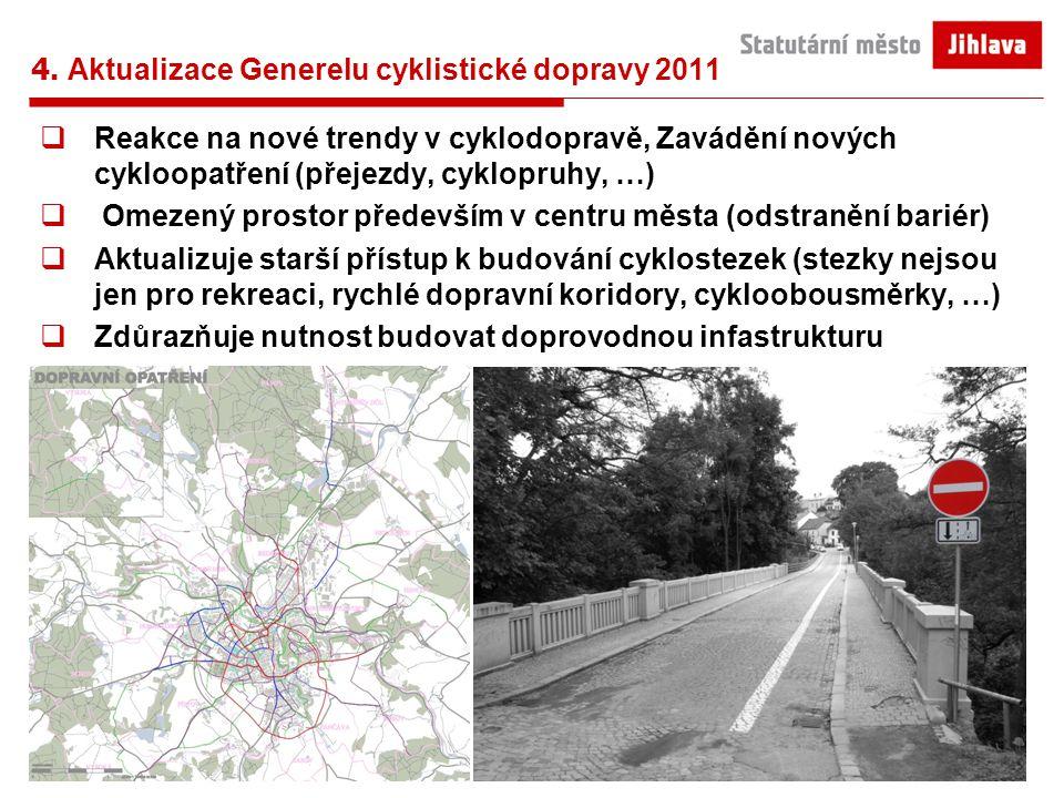 4. Aktualizace Generelu cyklistické dopravy 2011  Reakce na nové trendy v cyklodopravě, Zavádění nových cykloopatření (přejezdy, cyklopruhy, …)  Ome