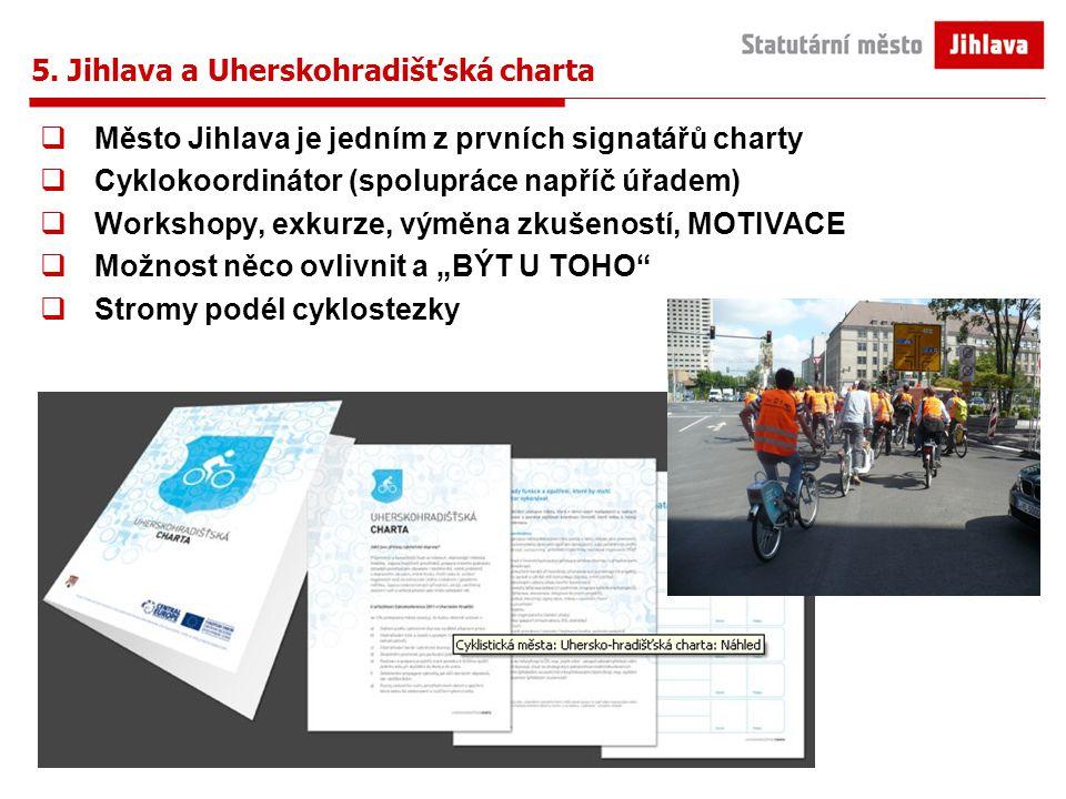 5. Jihlava a Uherskohradišťská charta  Město Jihlava je jedním z prvních signatářů charty  Cyklokoordinátor (spolupráce napříč úřadem)  Workshopy,