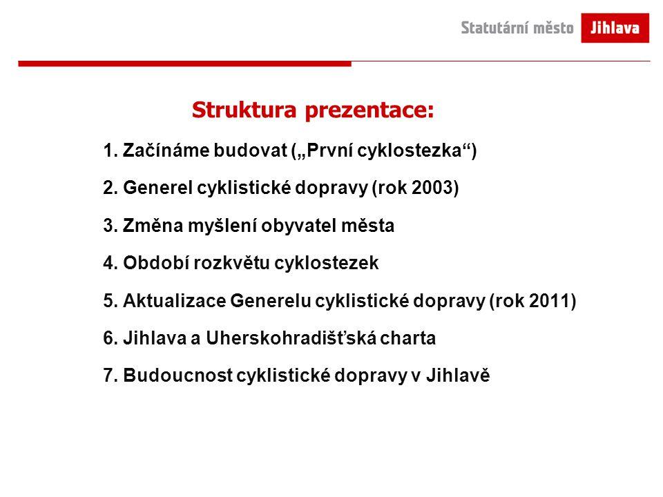 """Struktura prezentace: 1. Začínáme budovat (""""První cyklostezka"""") 2. Generel cyklistické dopravy (rok 2003) 3. Změna myšlení obyvatel města 4. Období ro"""