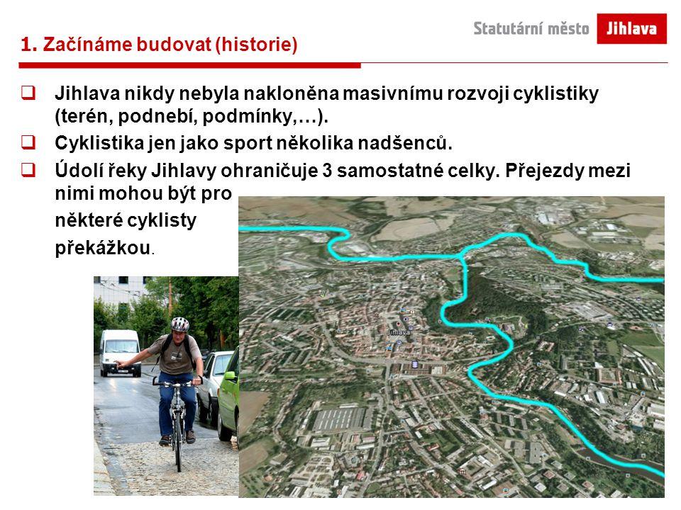 1. Začínáme budovat (historie)  Jihlava nikdy nebyla nakloněna masivnímu rozvoji cyklistiky (terén, podnebí, podmínky,…).  Cyklistika jen jako sport