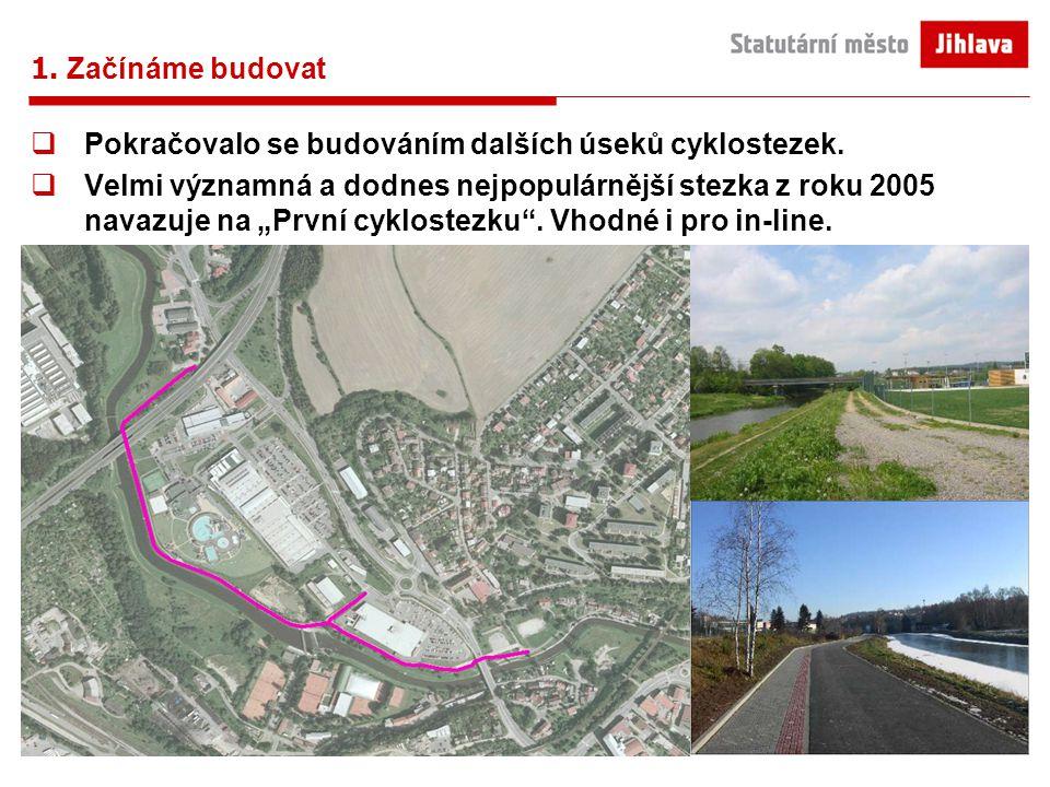 1. Začínáme budovat  Pokračovalo se budováním dalších úseků cyklostezek.