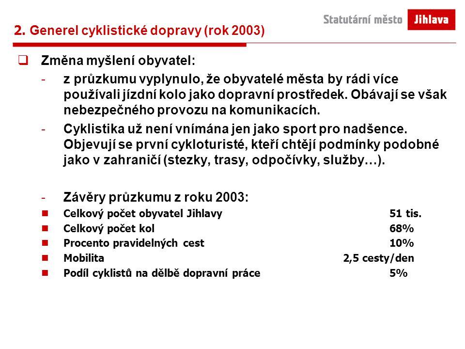 2. Generel cyklistické dopravy (rok 2003)  Změna myšlení obyvatel: -z průzkumu vyplynulo, že obyvatelé města by rádi více používali jízdní kolo jako
