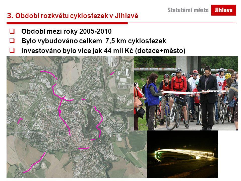 3. Období rozkvětu cyklostezek v Jihlavě  Období mezi roky 2005-2010  Bylo vybudováno celkem 7,5 km cyklostezek  Investováno bylo více jak 44 mil K
