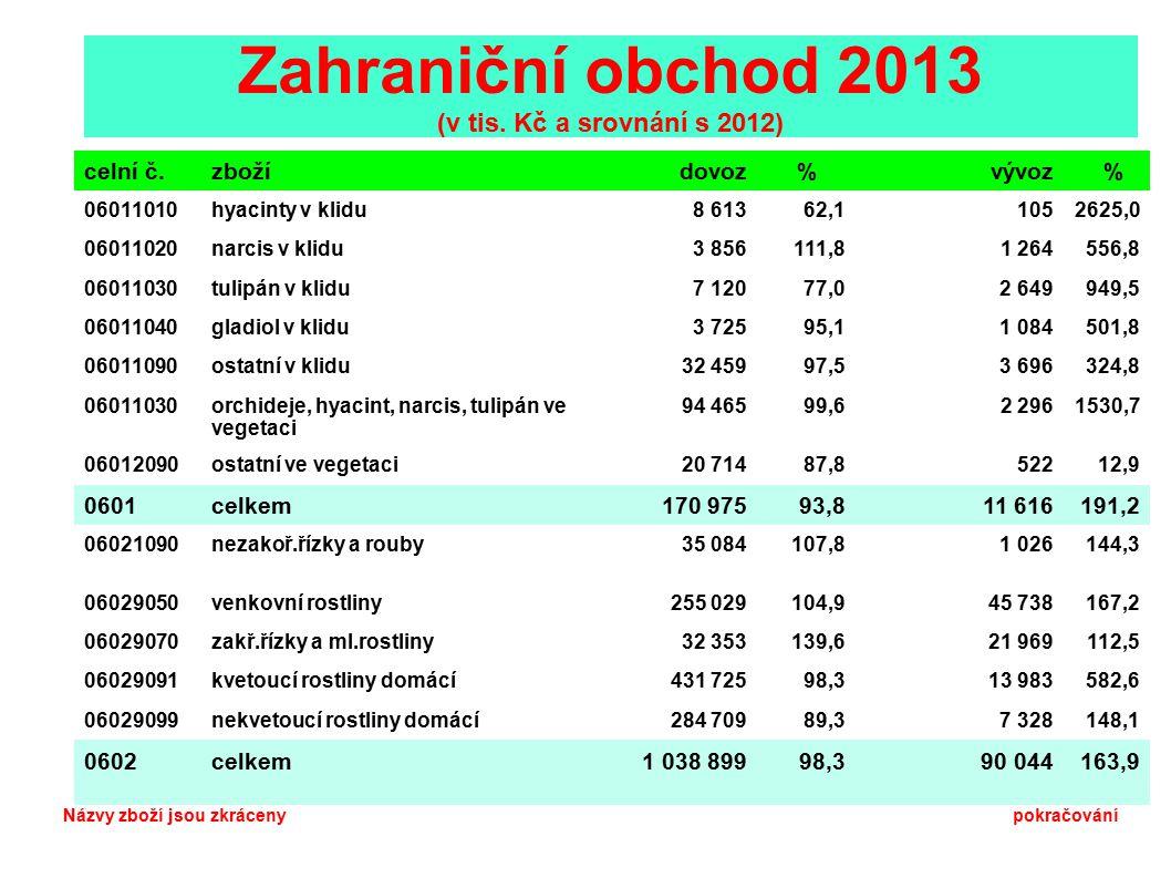 Zahraniční obchod 2013 (v tis.