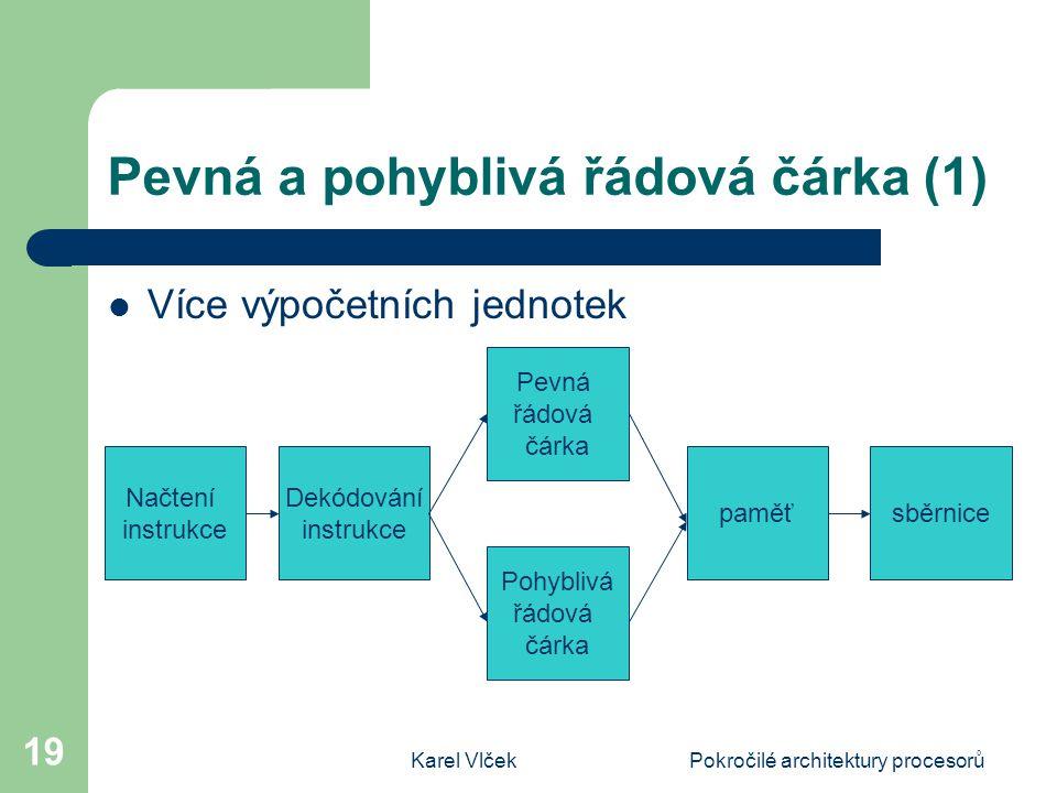 Karel VlčekPokročilé architektury procesorů 19 Pevná a pohyblivá řádová čárka (1) Více výpočetních jednotek Načtení instrukce Dekódování instrukce Pohyblivá řádová čárka Pevná řádová čárka paměťsběrnice