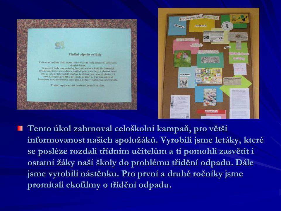 Tento úkol zahrnoval celoškolní kampaň, pro větší informovanost našich spolužáků.