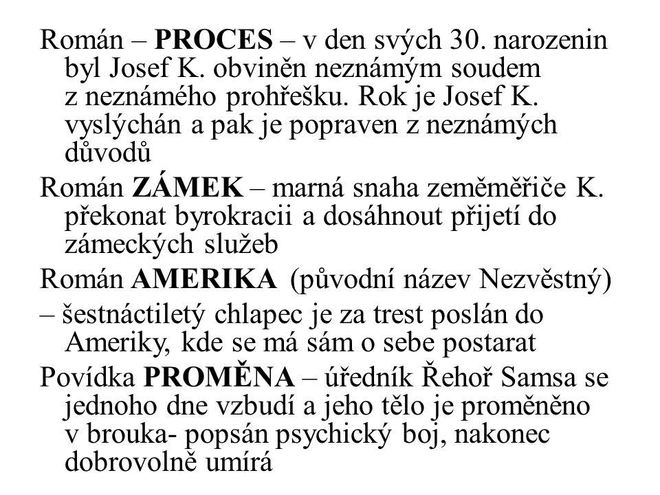 Román – PROCES – v den svých 30. narozenin byl Josef K.
