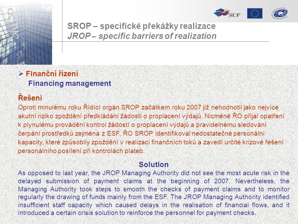 SROP – specifické překážky realizace JROP – specific barriers of realization  Finanční řízení Financing management Řešení Oproti minulému roku Řídící
