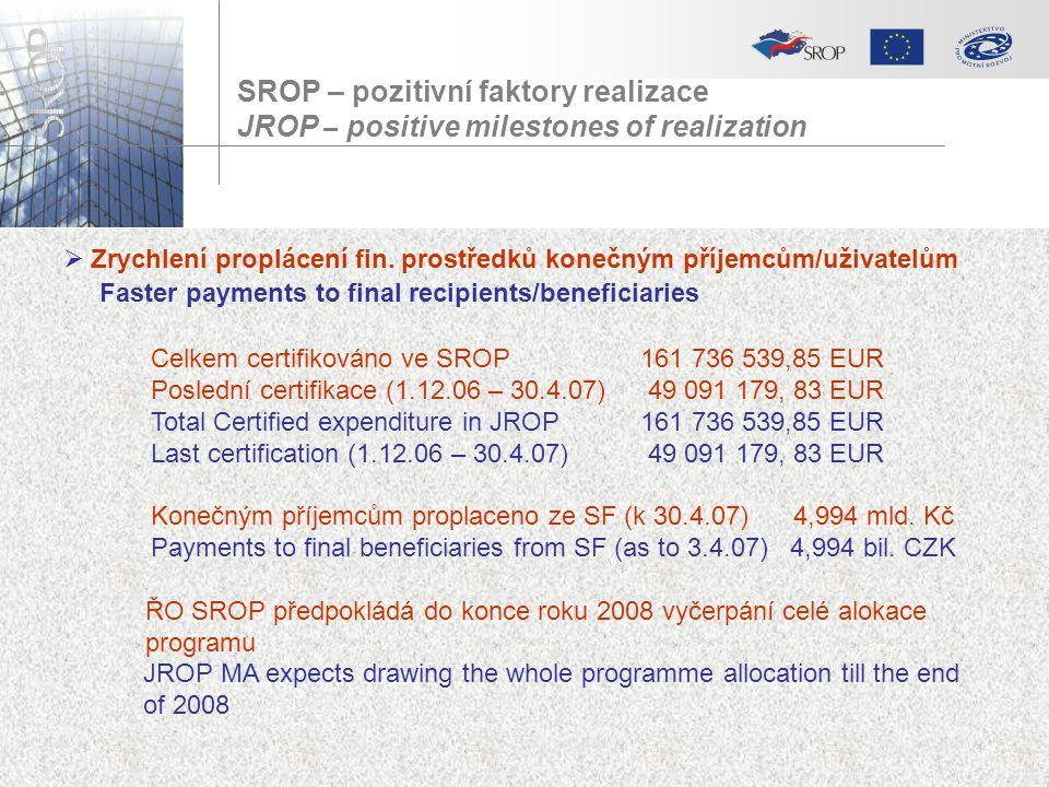 SROP – pozitivní faktory realizace JROP – positive milestones of realization  Zrychlení proplácení fin. prostředků konečným příjemcům/uživatelům Fast