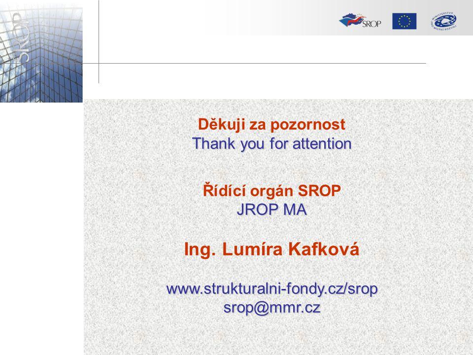 Děkuji za pozornost Thank you for attention Řídící orgán SROP JROP MA Ing. Lumíra Kafkováwww.strukturalni-fondy.cz/sropsrop@mmr.cz