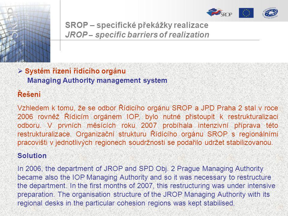 SROP – specifické překážky realizace JROP – specific barriers of realization  Systém řízení řídícího orgánu Managing Authority management system Řeše