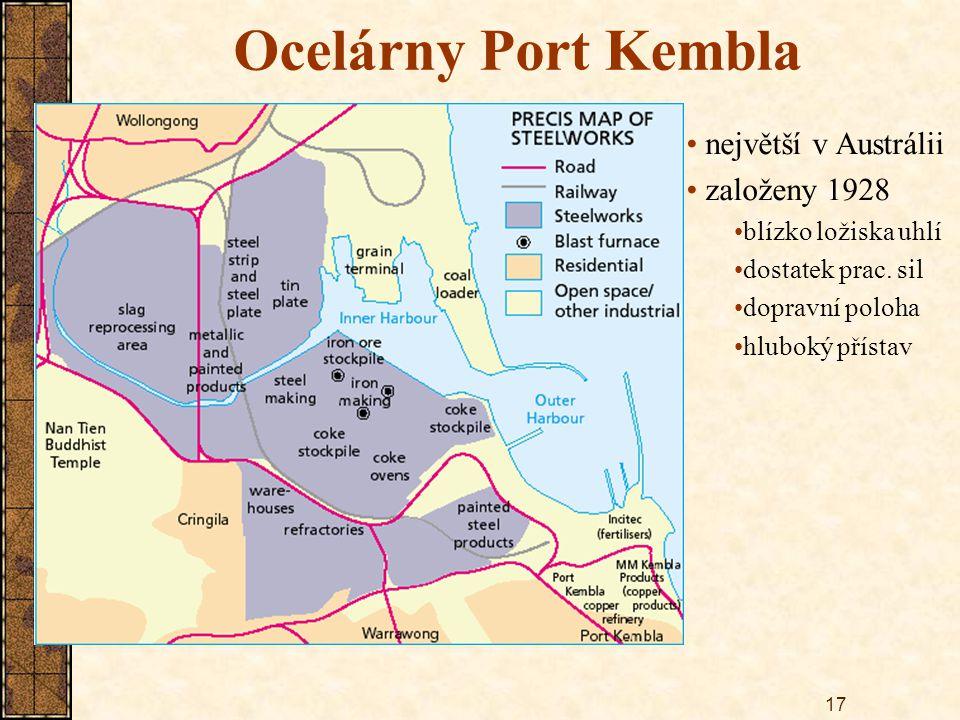 17 Ocelárny Port Kembla největší v Austrálii založeny 1928 blízko ložiska uhlí dostatek prac. sil dopravní poloha hluboký přístav