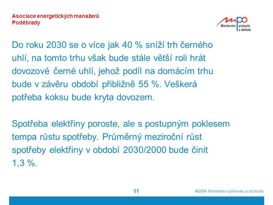  2004  Ministerstvo průmyslu a obchodu 11 Asociace energetických manažerů Poděbrady Do roku 2030 se o více jak 40 % sníží trh černého uhlí, na tomto trhu však bude stále větší roli hrát dovozové černé uhlí, jehož podíl na domácím trhu bude v závěru období přibližně 55 %.