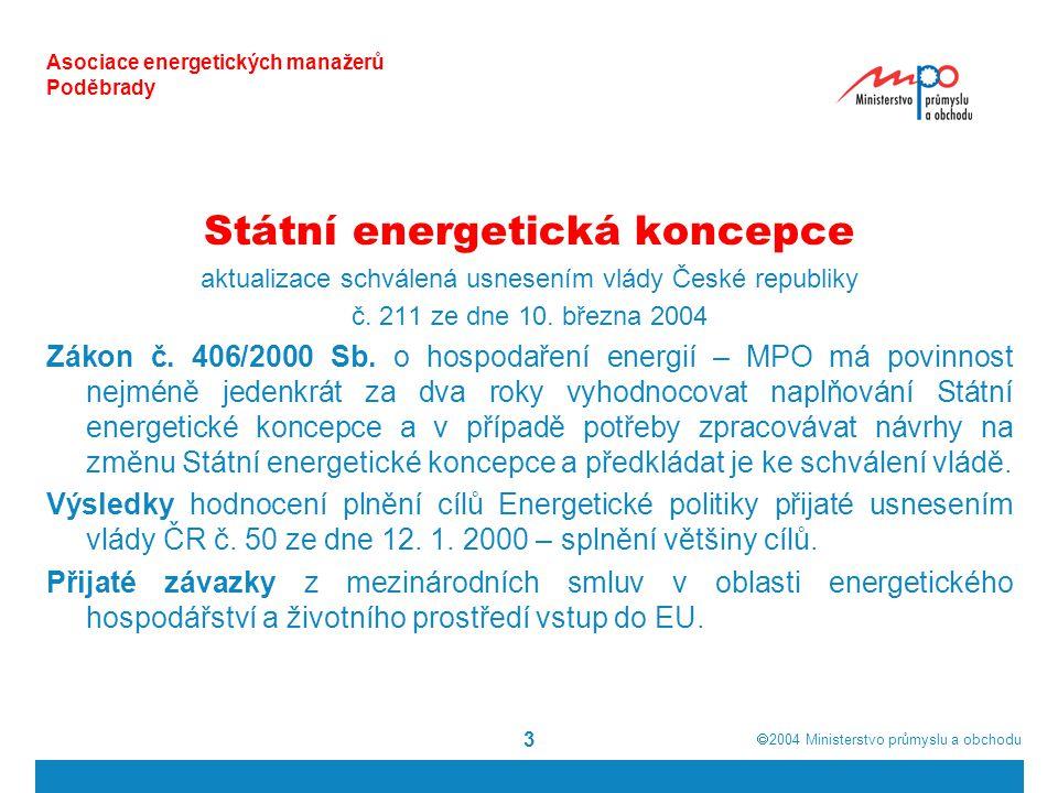  2004  Ministerstvo průmyslu a obchodu 24 Asociace energetických manažerů Poděbrady CÍLE a PRIORITY státní energetické koncepce  Maximální UDRŽITELNÝ ROZVOJ Ochrana životního prostředí Ekonomický a sociální rozvoj
