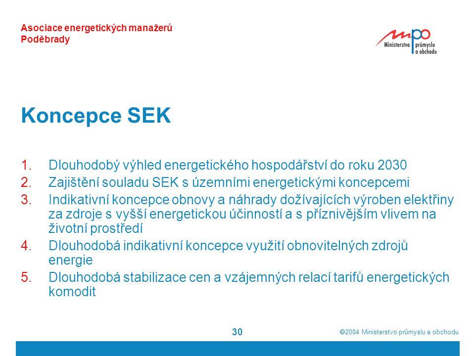  2004  Ministerstvo průmyslu a obchodu 30 Asociace energetických manažerů Poděbrady Koncepce SEK 1.Dlouhodobý výhled energetického hospodářství do roku 2030 2.Zajištění souladu SEK s územními energetickými koncepcemi 3.Indikativní koncepce obnovy a náhrady dožívajících výroben elektřiny za zdroje s vyšší energetickou účinností a s příznivějším vlivem na životní prostředí 4.Dlouhodobá indikativní koncepce využití obnovitelných zdrojů energie 5.Dlouhodobá stabilizace cen a vzájemných relací tarifů energetických komodit