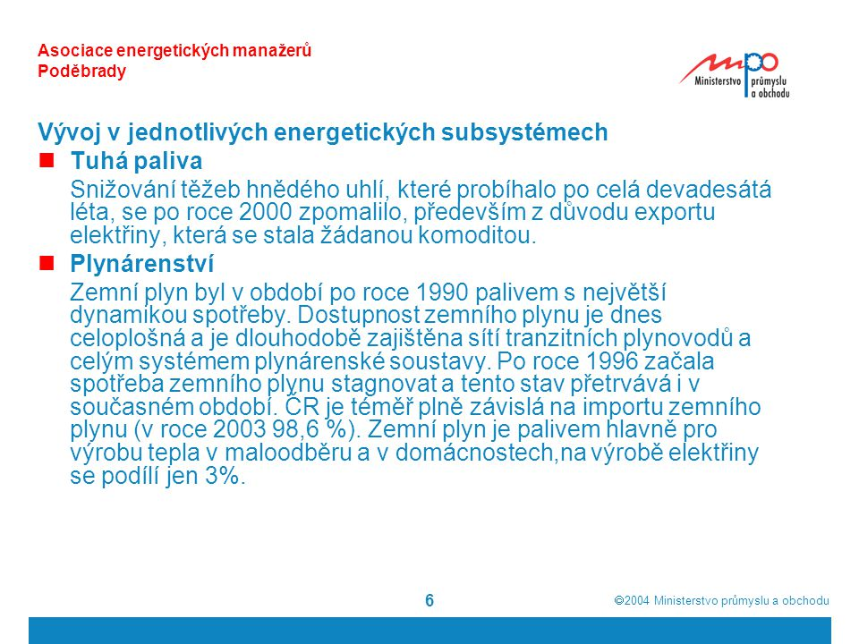  2004  Ministerstvo průmyslu a obchodu 17 Asociace energetických manažerů Poděbrady Výroba elektřiny z obnovitelných zdrojů energie (TWh) Rok 200020052010201520202025 2030 Biomasa0,011,604,866,327,8110,25 10,96 MVE 0,52 0,801,051,051,051,051,05 Vítr 0,01 0,570,931,011,251,441,44 Fotovoltaika0,00 0,000,000,000,010,01 Bioplyn 0,010,010,010,010,010,010,16