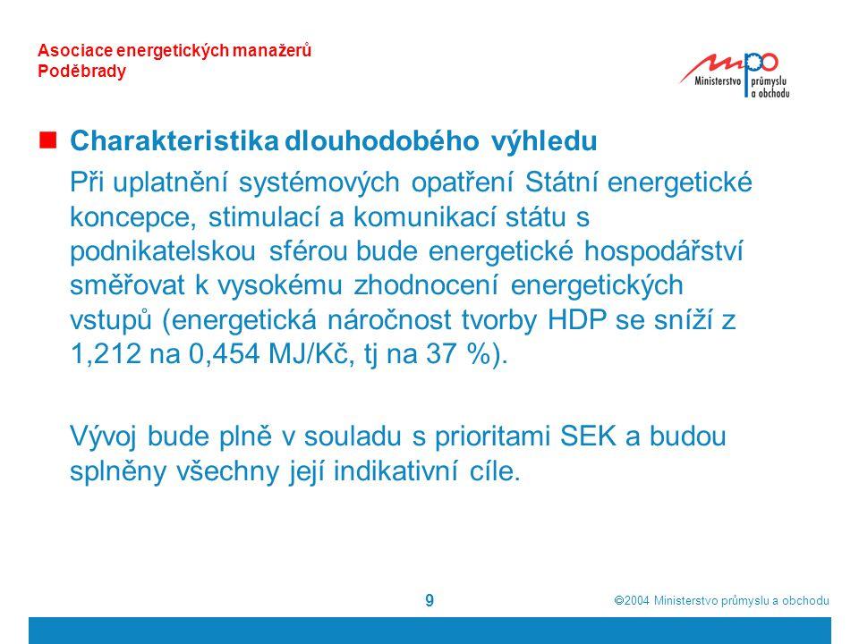  2004  Ministerstvo průmyslu a obchodu 10 Asociace energetických manažerů Poděbrady Při přírůstku spotřeby PEZ (v průběhu 30 let o 0,2 % ročně) se bude dále měnit struktura primárních zdrojů energie.