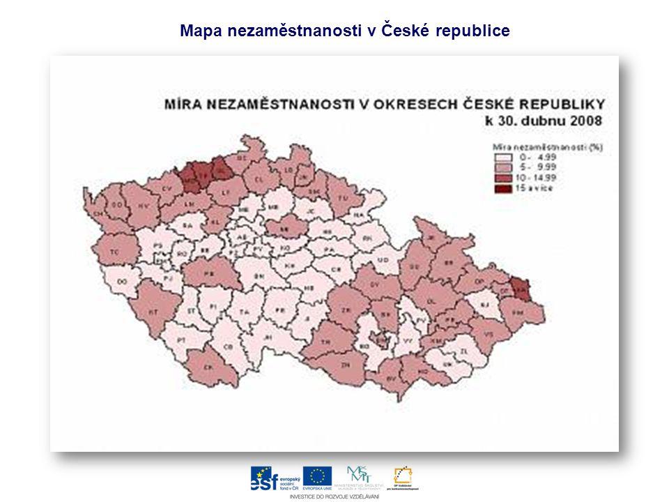 Mapa nezaměstnanosti v České republice