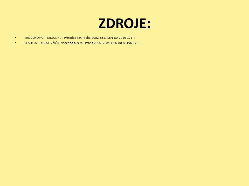 ZDROJE: KROULÍKOVÁ J., KROULÍK J., Přírodopis 9.Praha 2002.