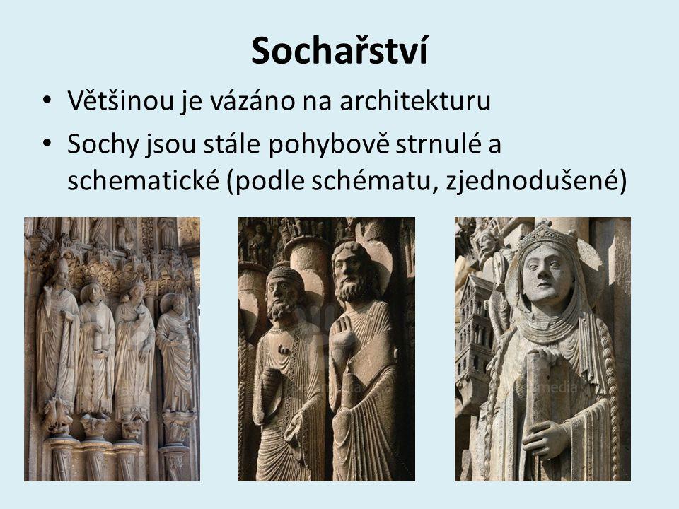 Sochařství Většinou je vázáno na architekturu Sochy jsou stále pohybově strnulé a schematické (podle schématu, zjednodušené)