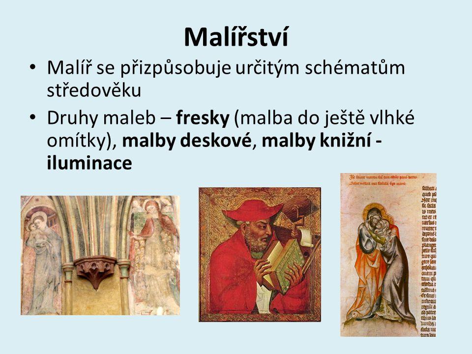 Malířství Malíř se přizpůsobuje určitým schématům středověku Druhy maleb – fresky (malba do ještě vlhké omítky), malby deskové, malby knižní - iluminace